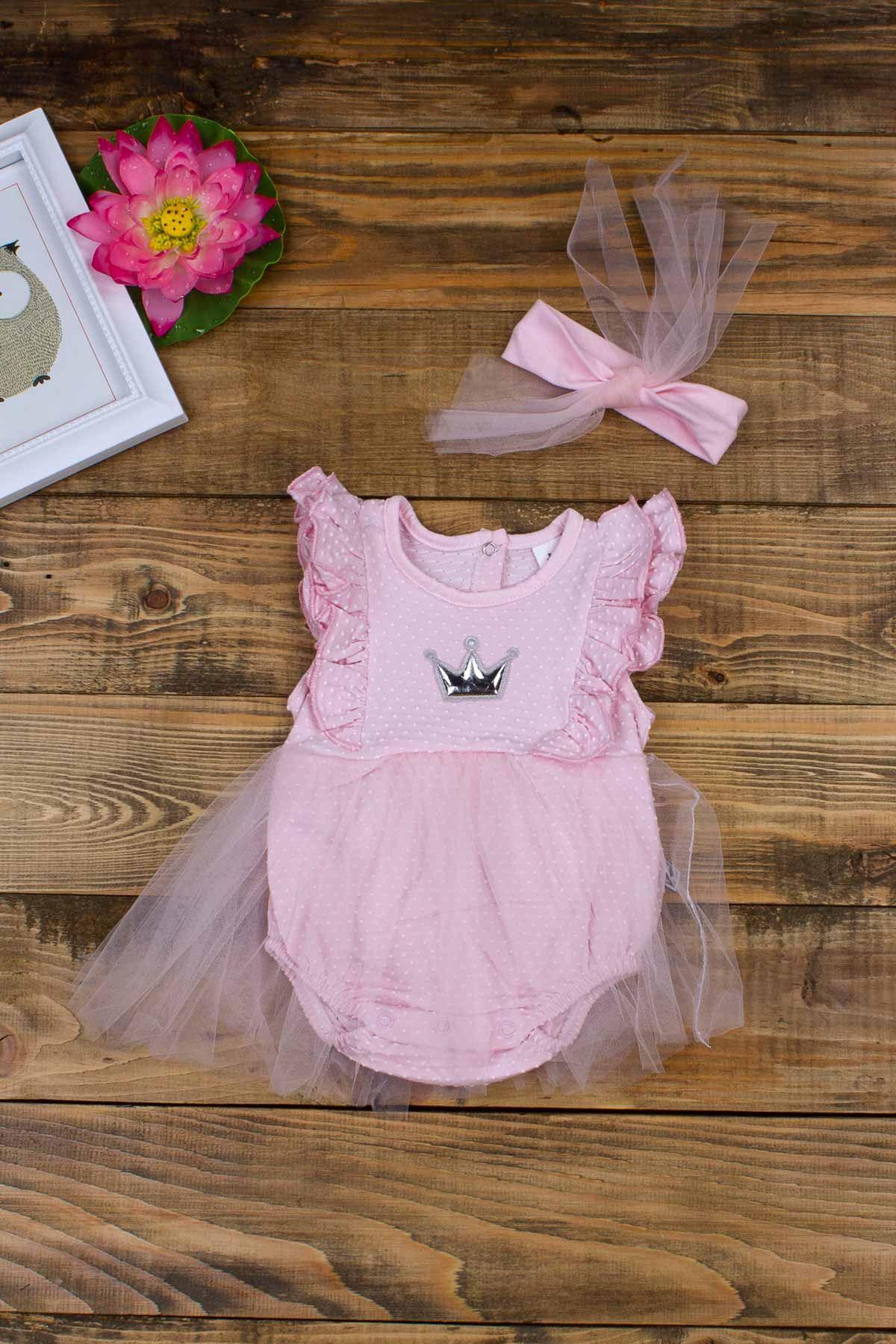 Pembe Yazlık Kız Bebek Tüllü Bandanalı Elbise
