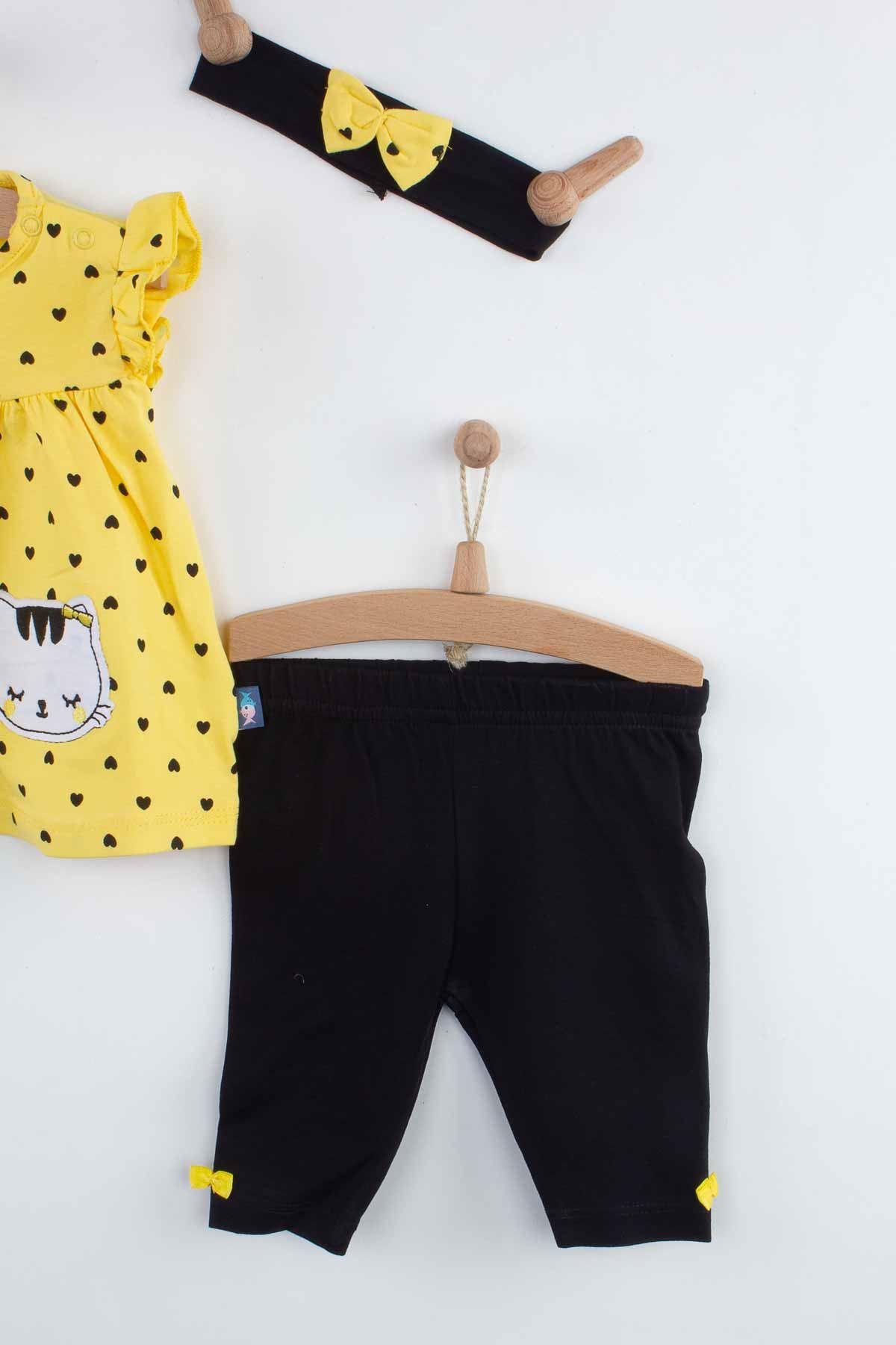 Sarı Yazlık Bandanalı Kız Bebek 3 lü Takım