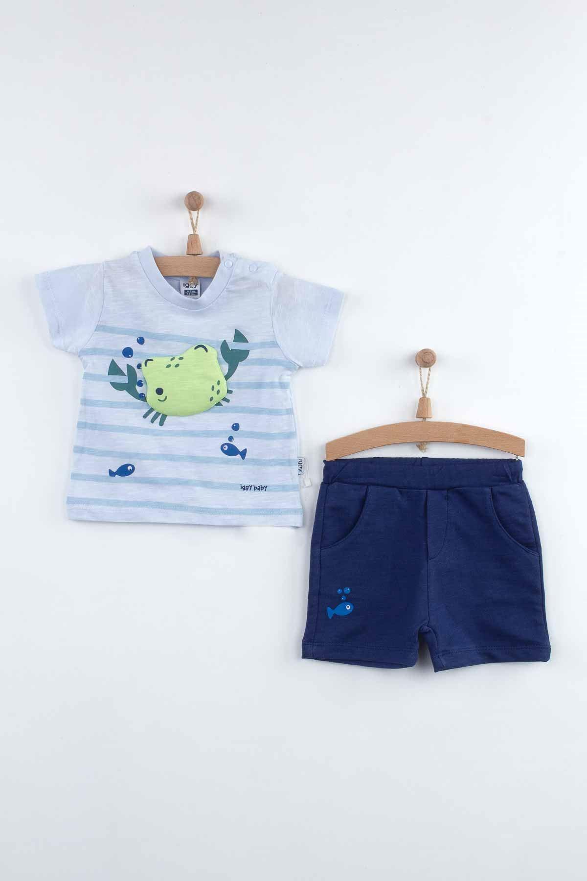 Mavi Yazlık Erkek Bebek Şortlu Takım