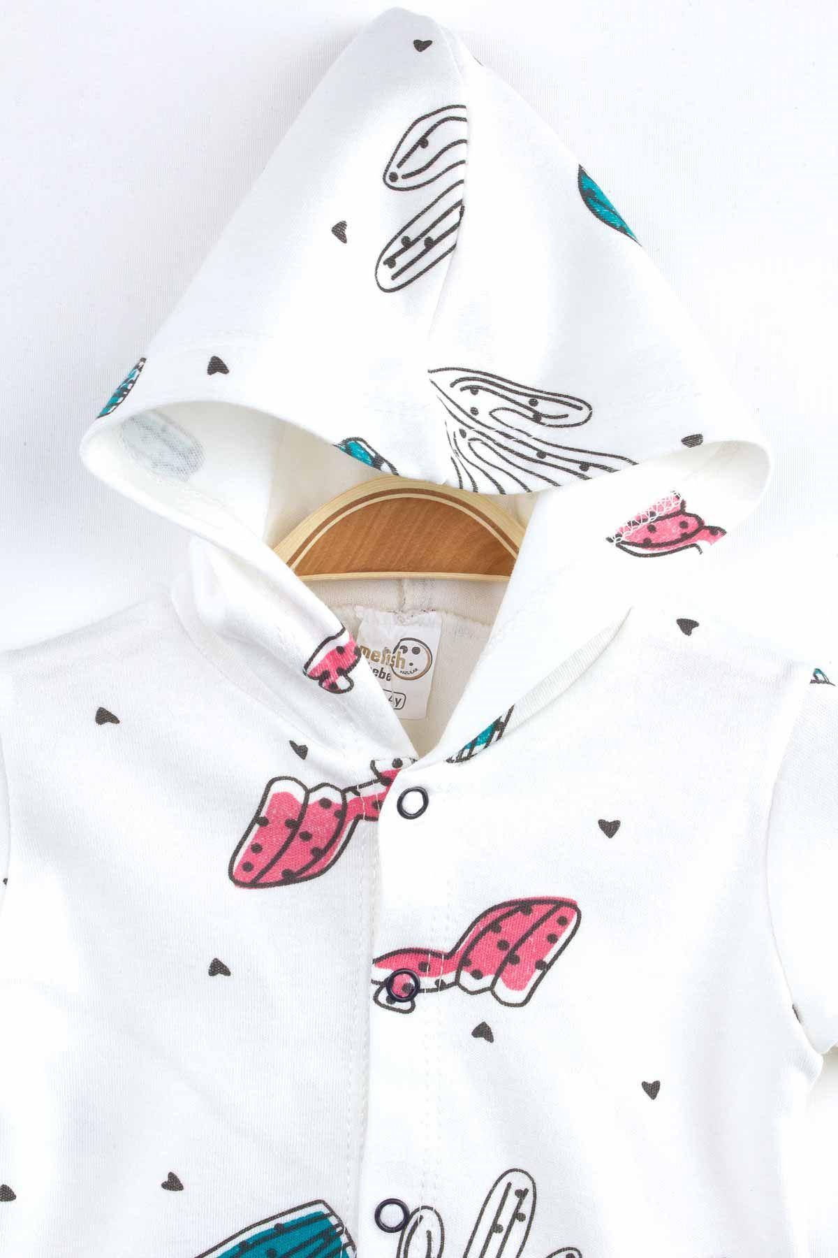 Beyaz Yazlık Kapüşonlu Kız Bebek Tulum