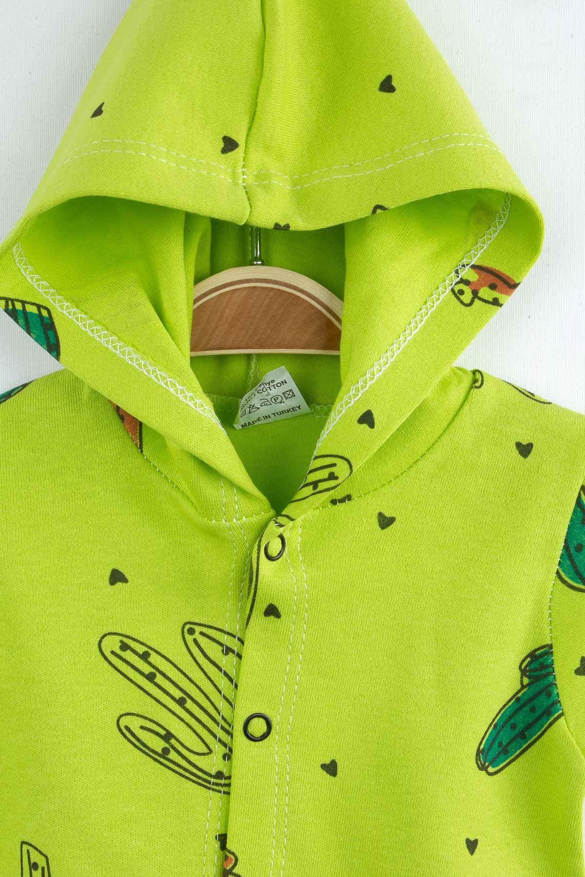 Yeşil Yazlık Kapüşonlu Erkek Bebek Tulum