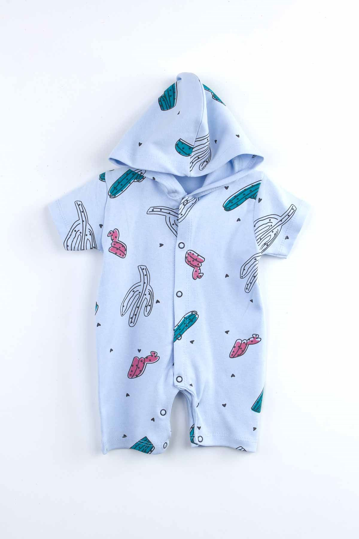 Mavi Yazlık Kapüşonlu Erkek  Bebek Tulum