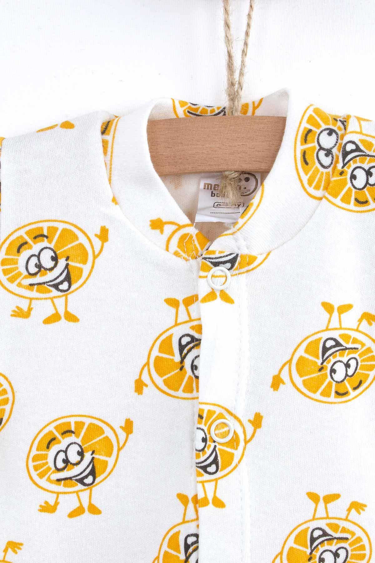 Sarı Yazlık Portakal Desenli Erkek Bebek Tulum