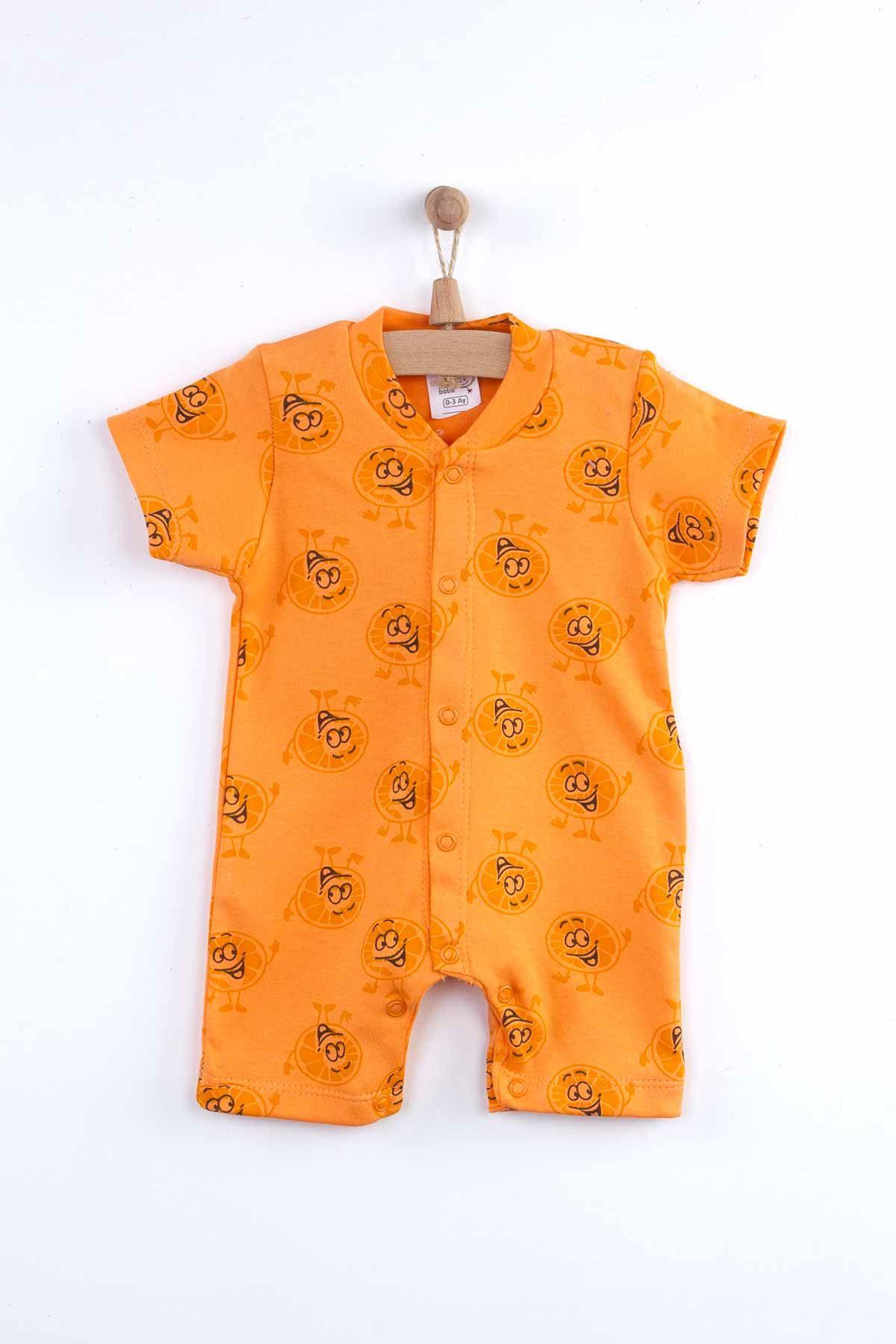 Turuncu Yazlık Portakal Desenli Erkek Bebek Tulum