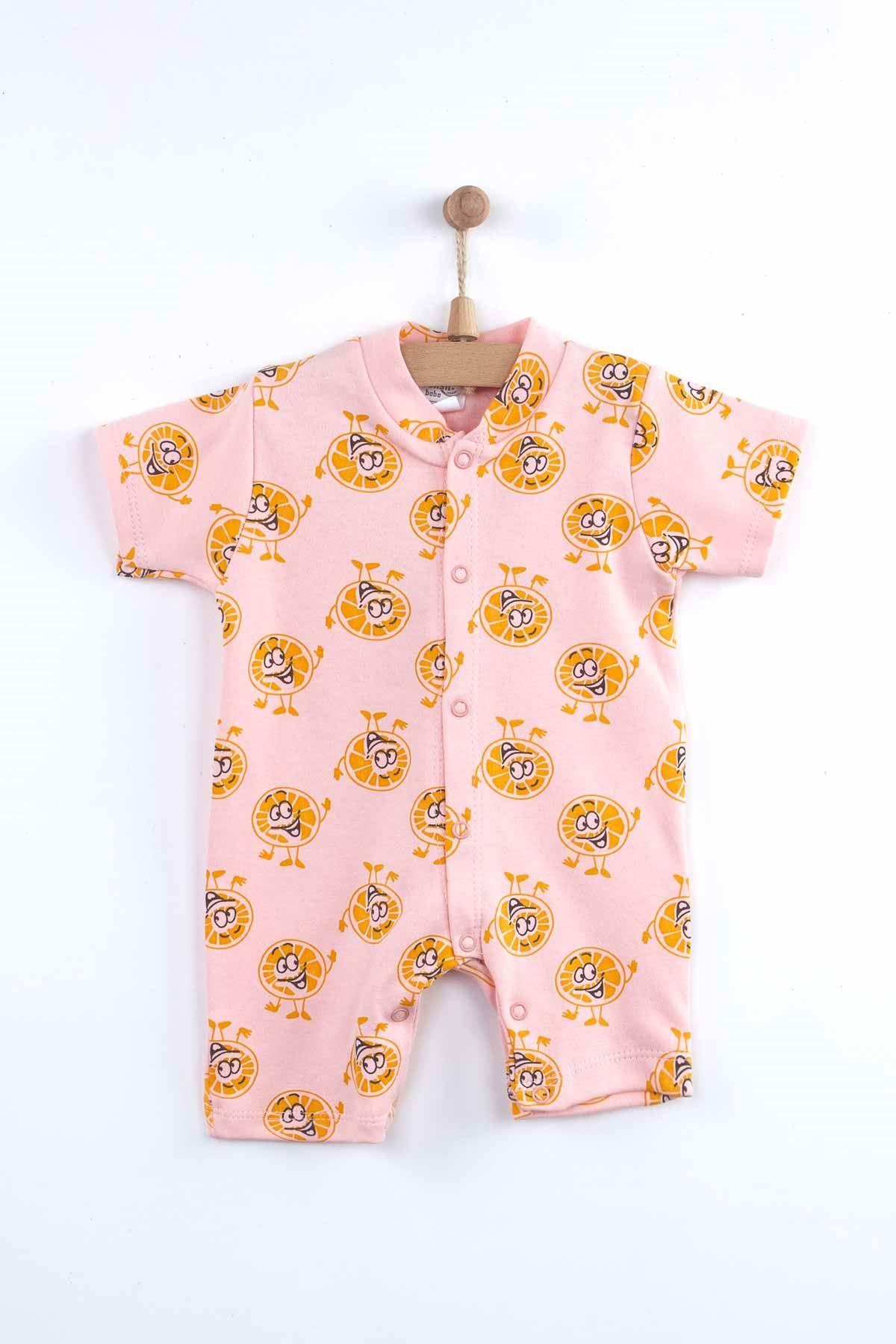 Pudra Yazlık Portakal Desenli Kız Bebek Tulum