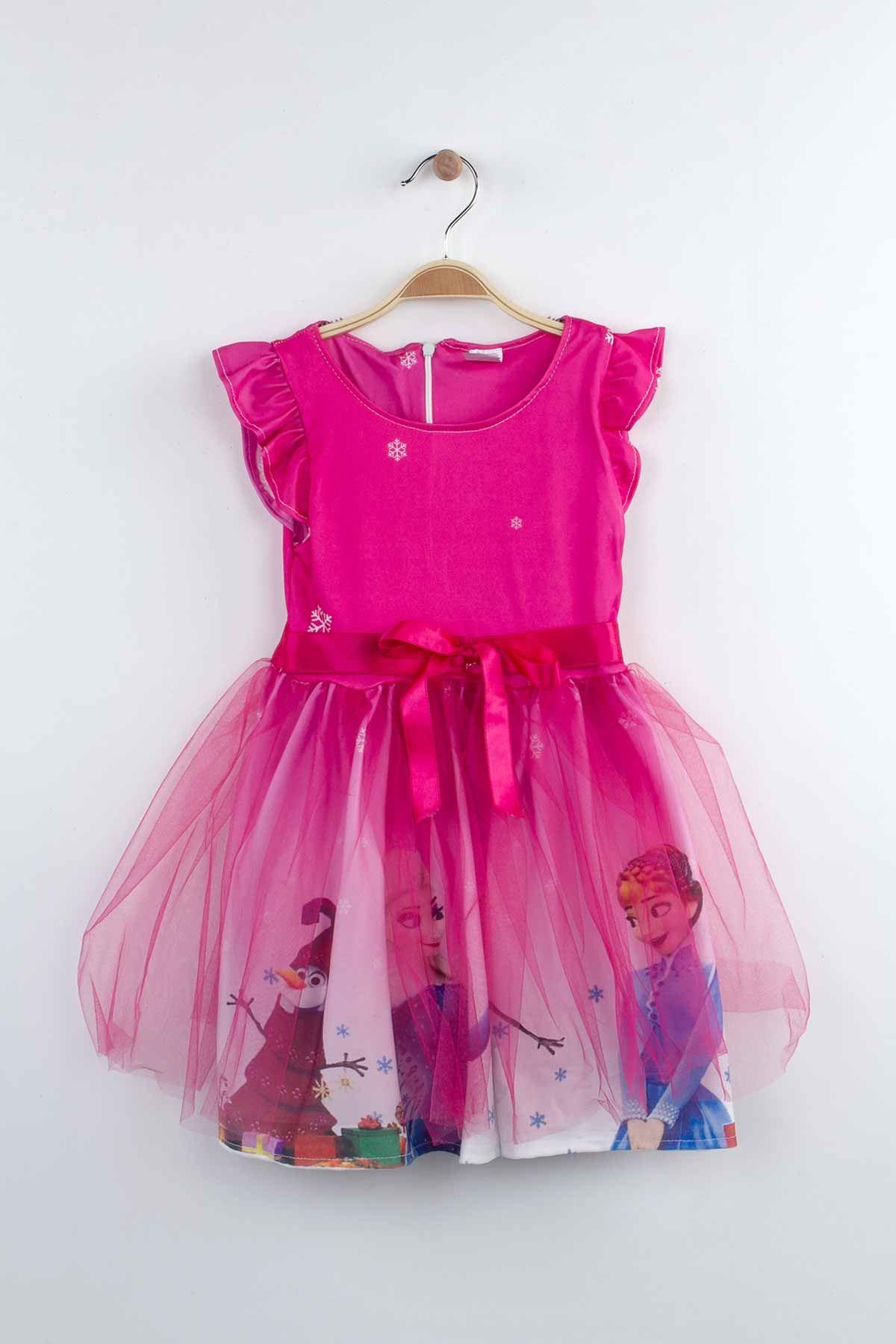 Fuşya Kız Çocuk Tüllü Elbise