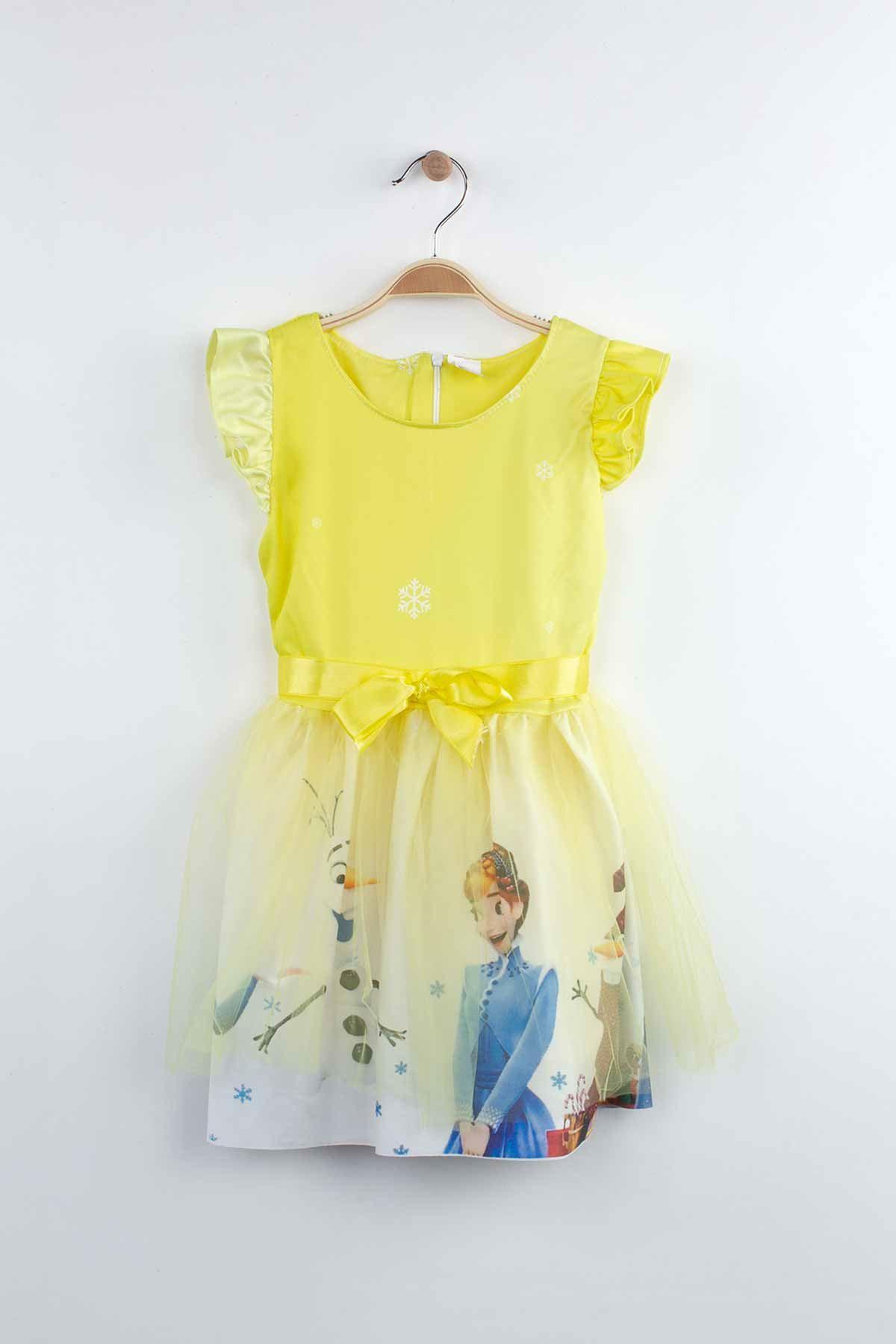 Sarı Kız Çocuk Tüllü Elbise