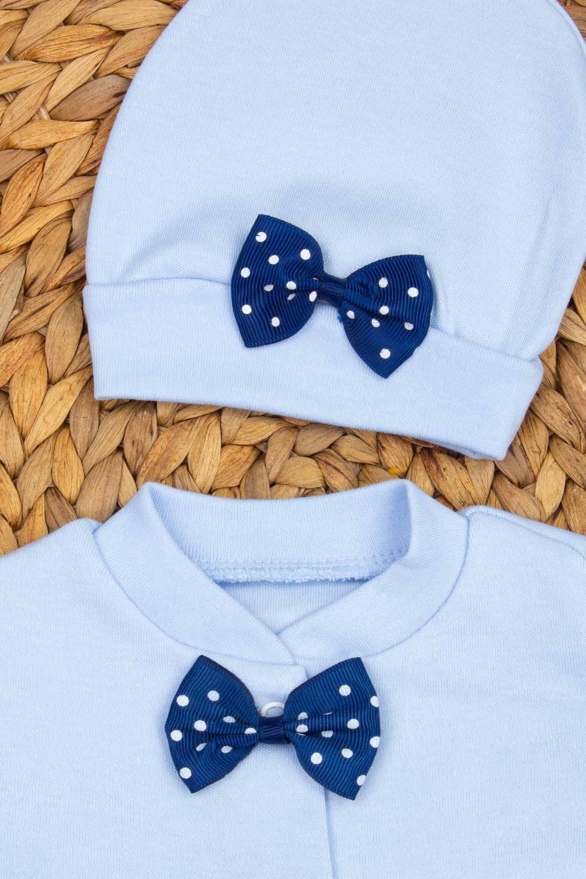 Mavi Ayıcık Nakışlı Erkek Bebek 3lü Tulum