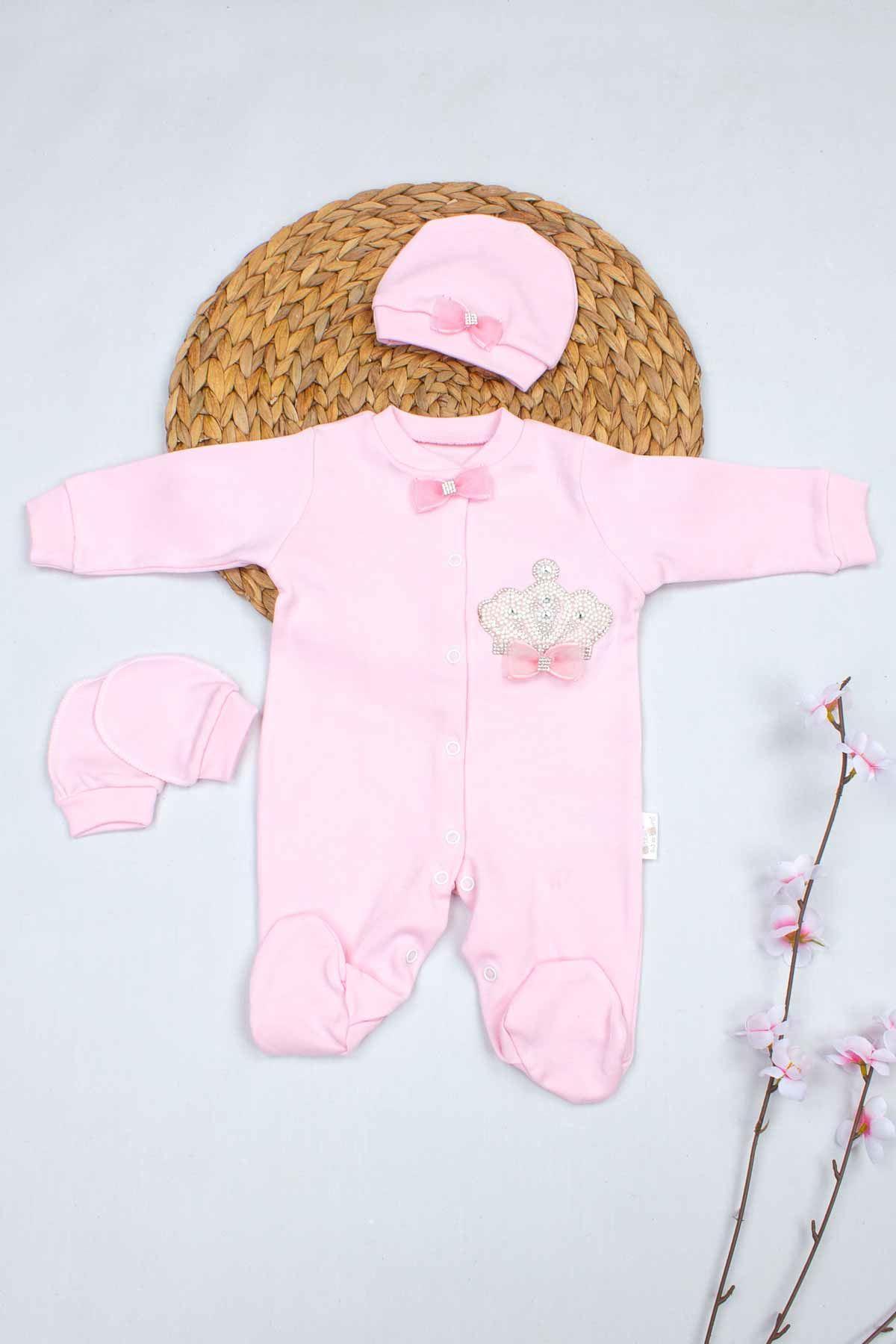 Pembe Kraliçe Taçlı Kız Bebek 3 lü Tulum