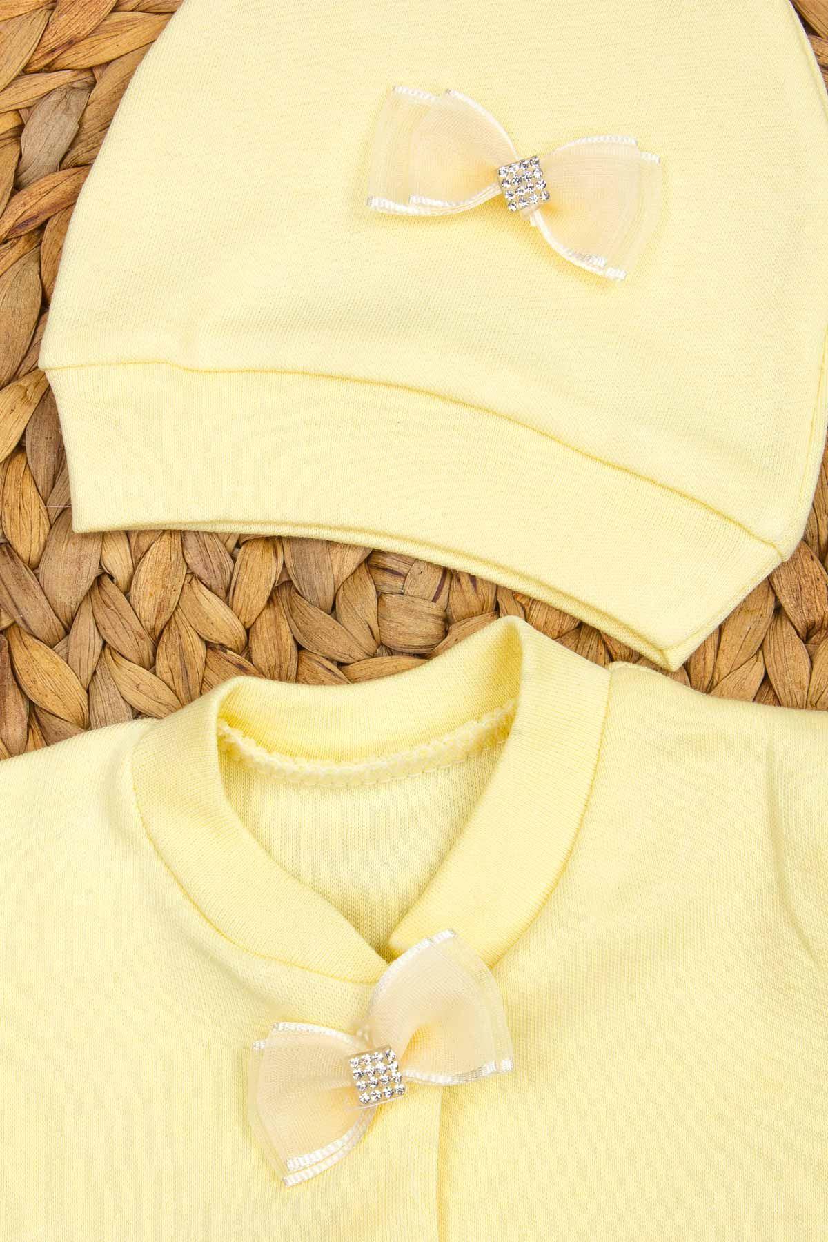 Sarı Kral Taçlı Erkek Bebek 3 lü Tulum