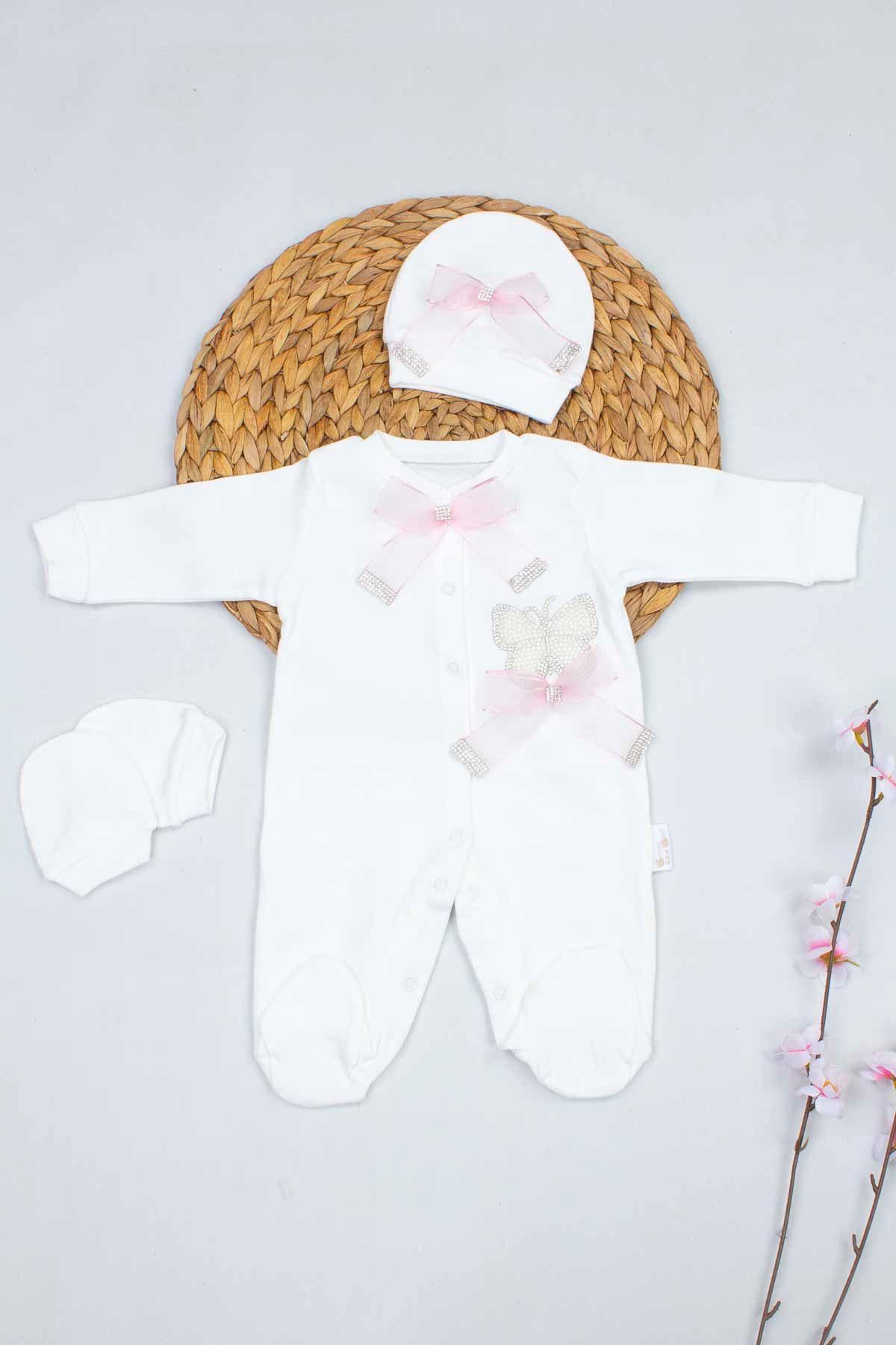 Krem Kelebek Nakışlı Kız Bebek 3lü Tulum
