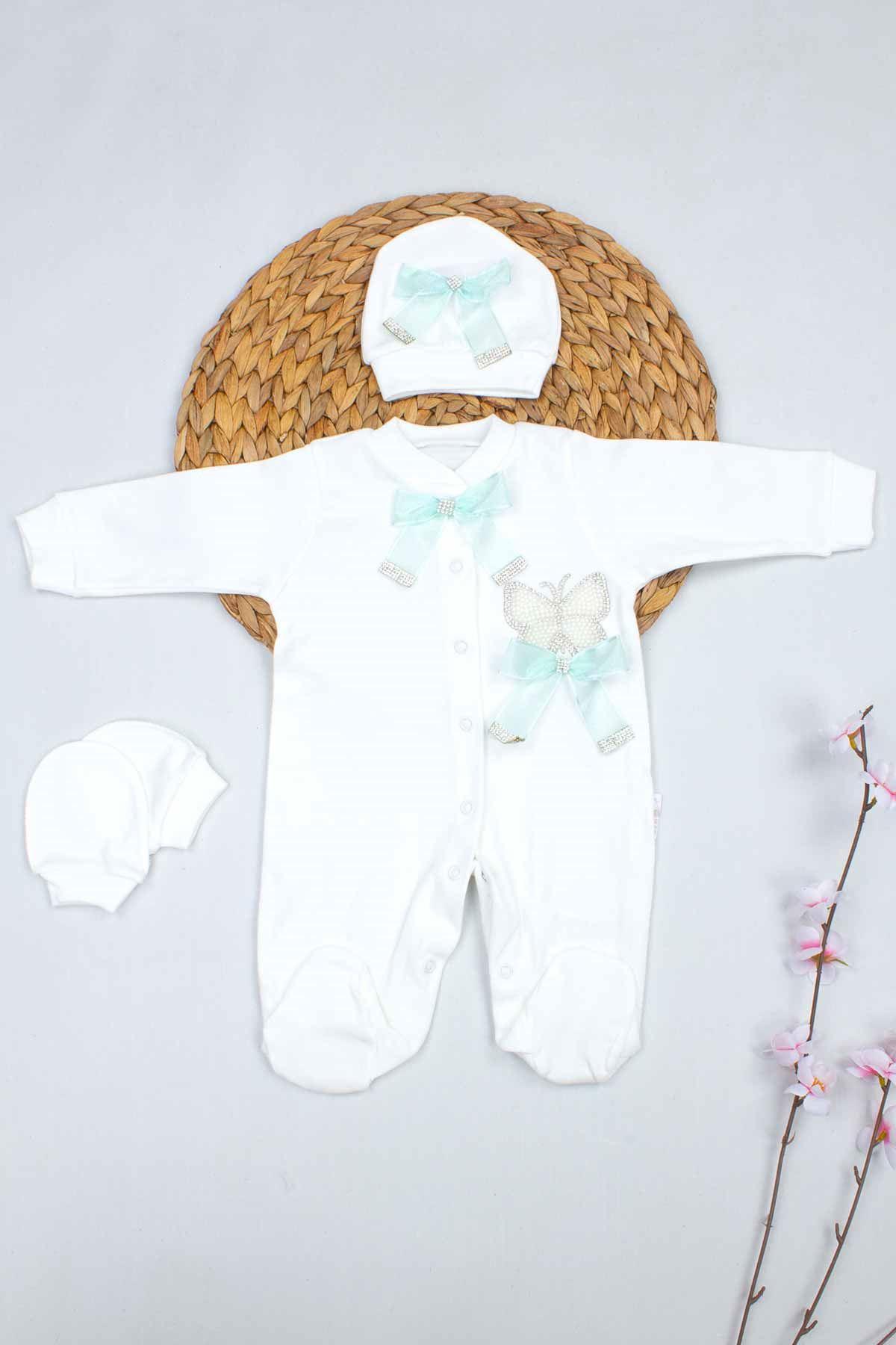 Beyaz Kelebek Nakışlı Kız Bebek 3lü Tulum