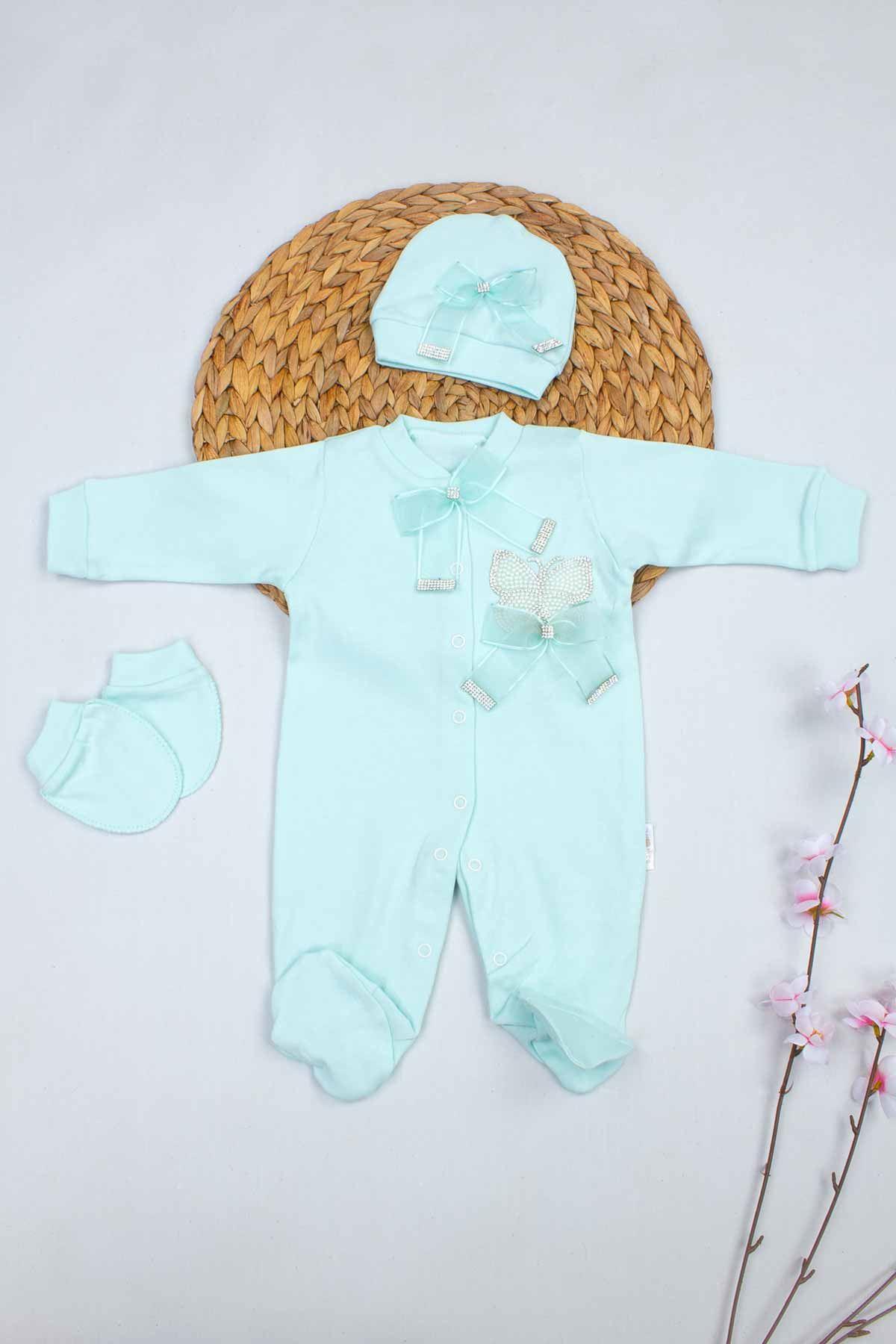 Yeşil Kelebek Nakışlı Kız Bebek 3lü Tulum