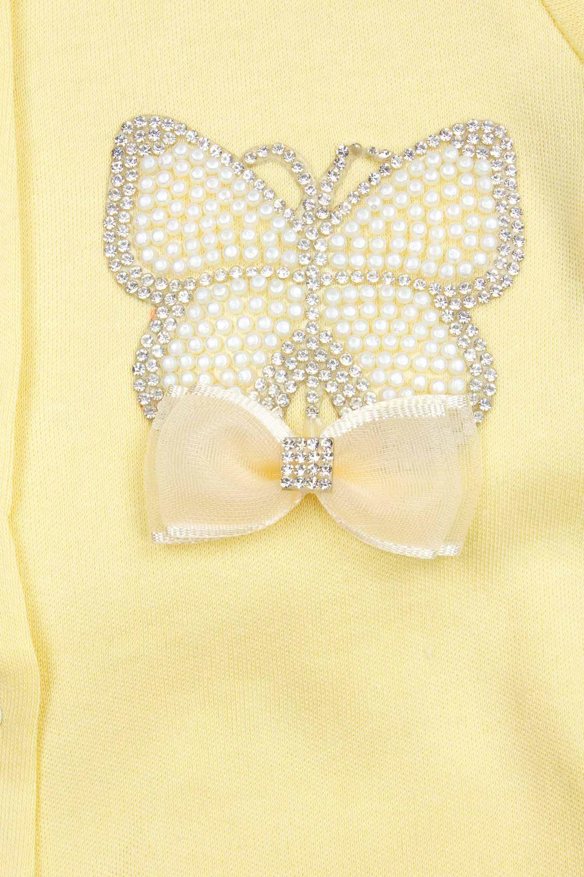 Sarı Kelebek Nakışlı Kız Bebek 3 lü Tulum