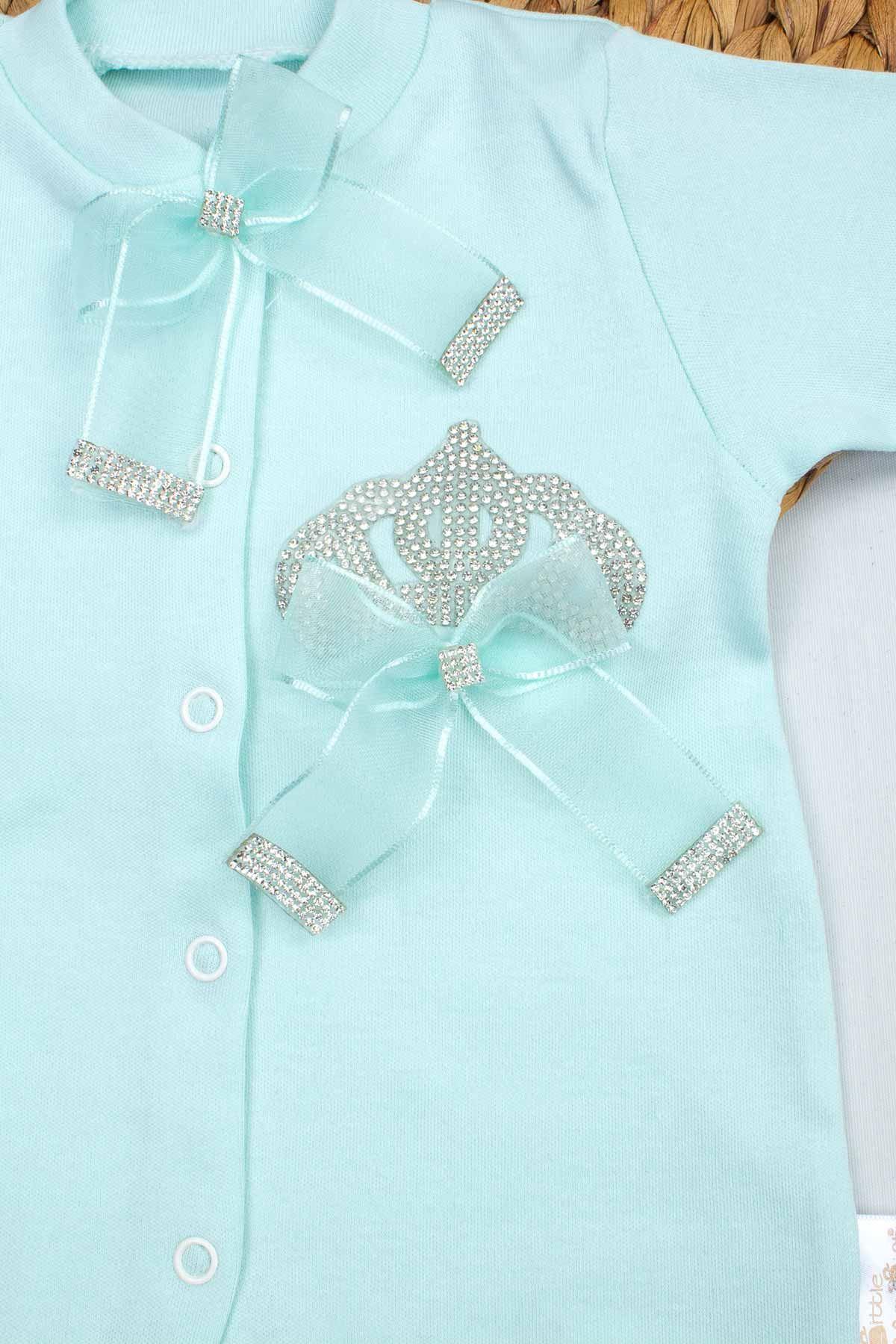 Yeşil Kraliçe Taçlı Kız Bebek 3 lü Tulum