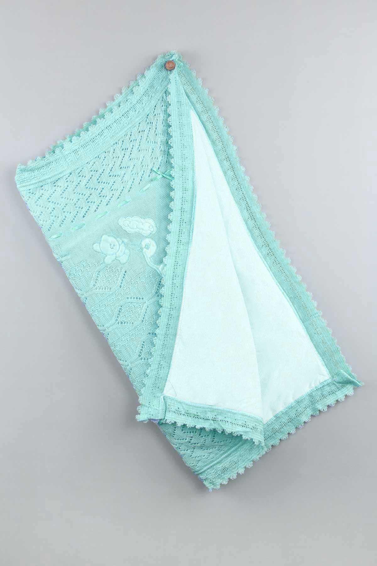 Green Tricot Knit 80x80 cm Baby Girl Blanket