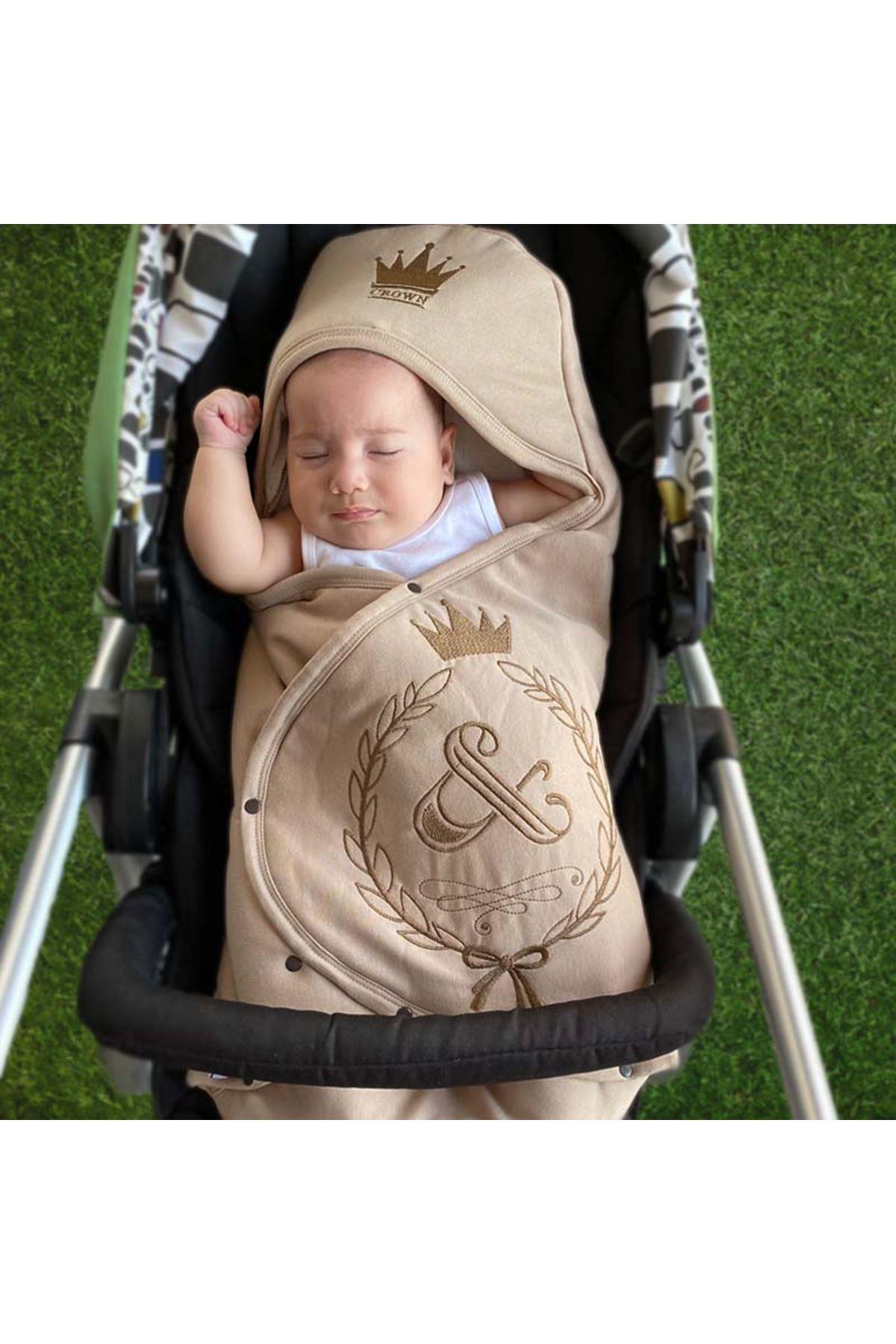 Kahve  Taçlı Nakışlı Bebek Kundak Alt Açma