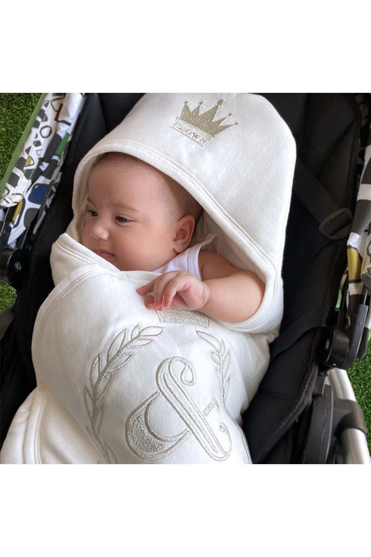 Beyaz Taçlı Nakışlı Bebek Kundak Alt Açma