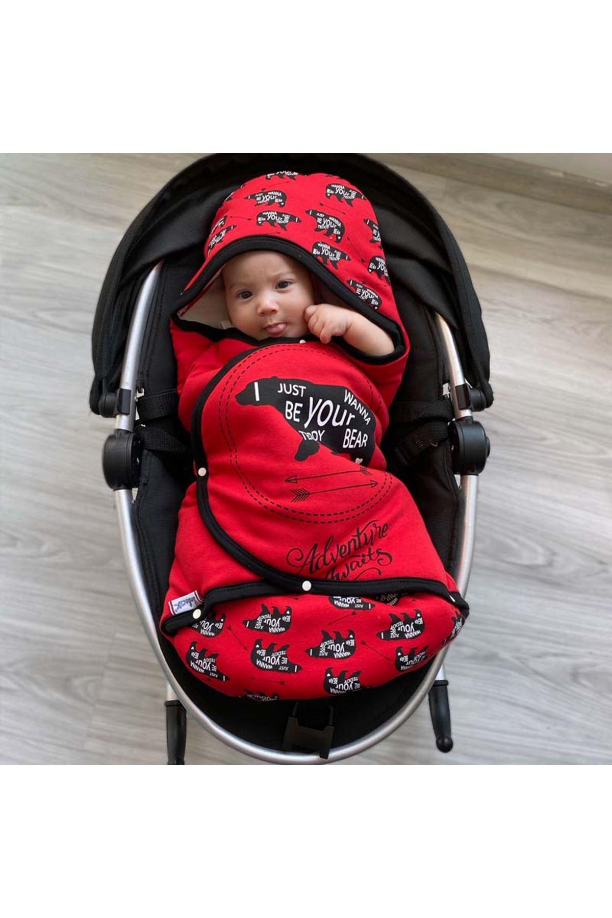 Kırmızı  Macera Ayısı Bebek Kundak Alt Açma