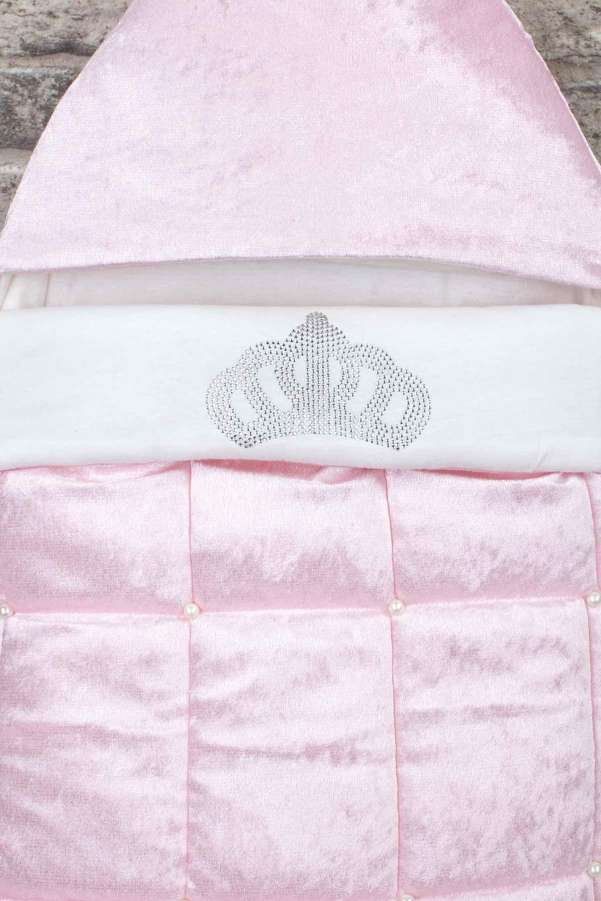 Pembe Kadife Kapitone Kraliçe Taçlı Bebek Kundak
