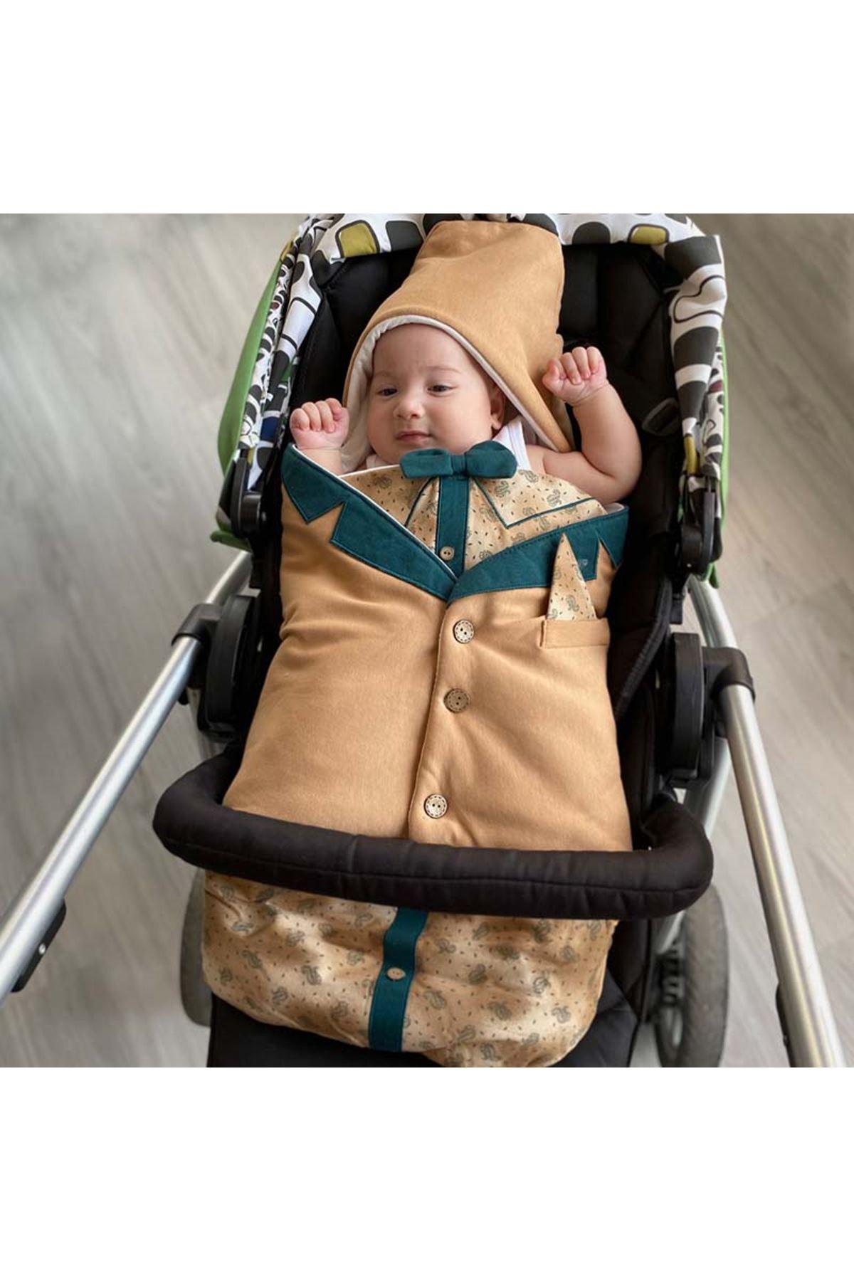 Kahve Papyonlu Ceket Görünümlü Nakışlı Bebek Kundak Alt Açma