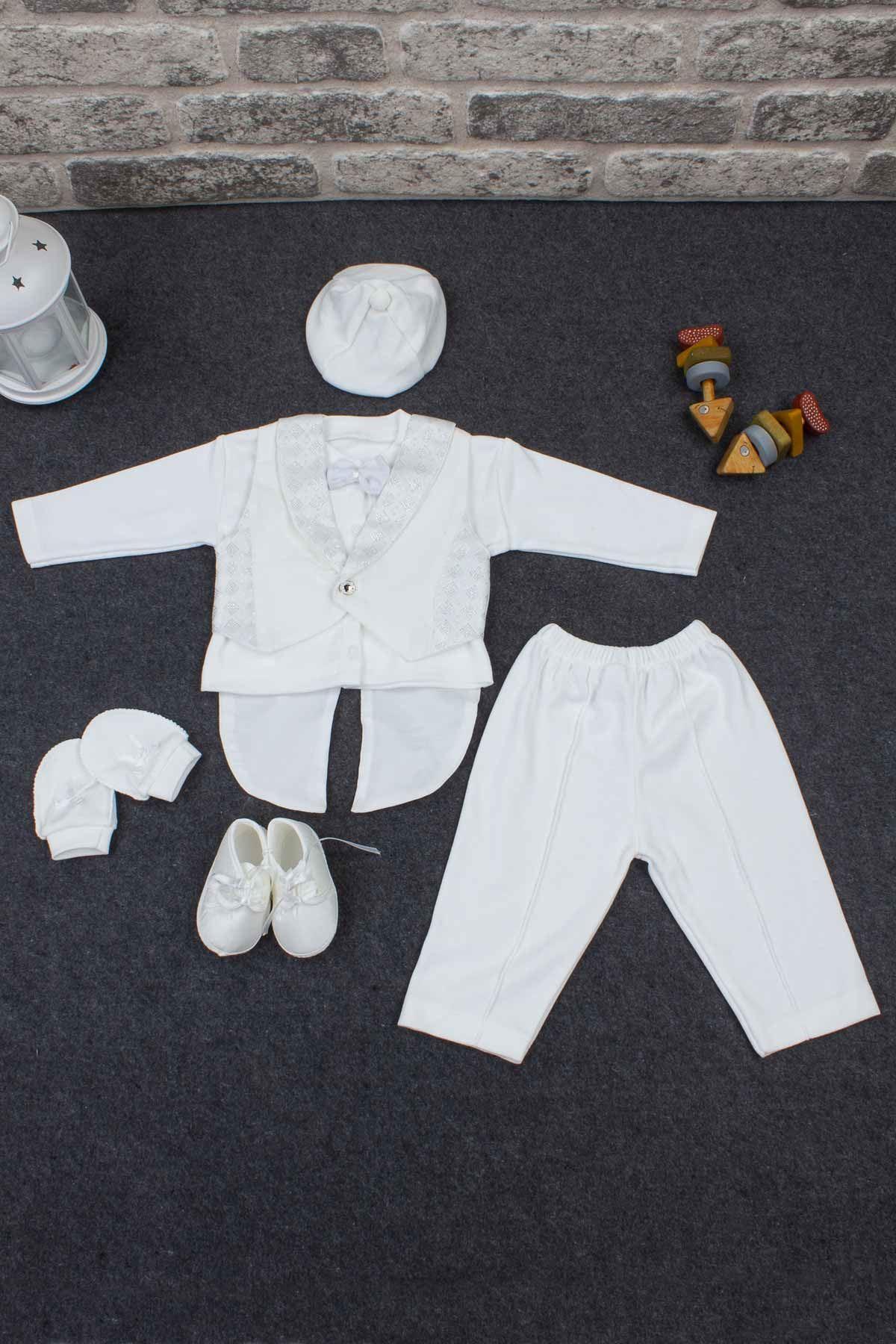 Beyaz Erkek Bebek Smokin Takım