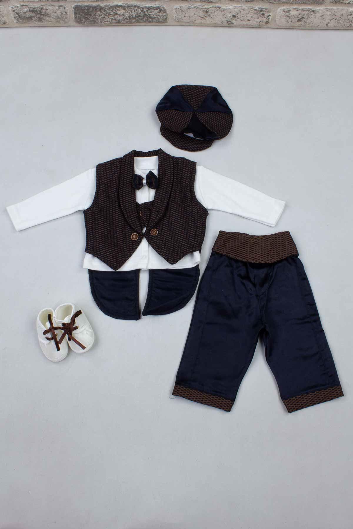 Kahverengi Erkek Bebek Smokin Takım