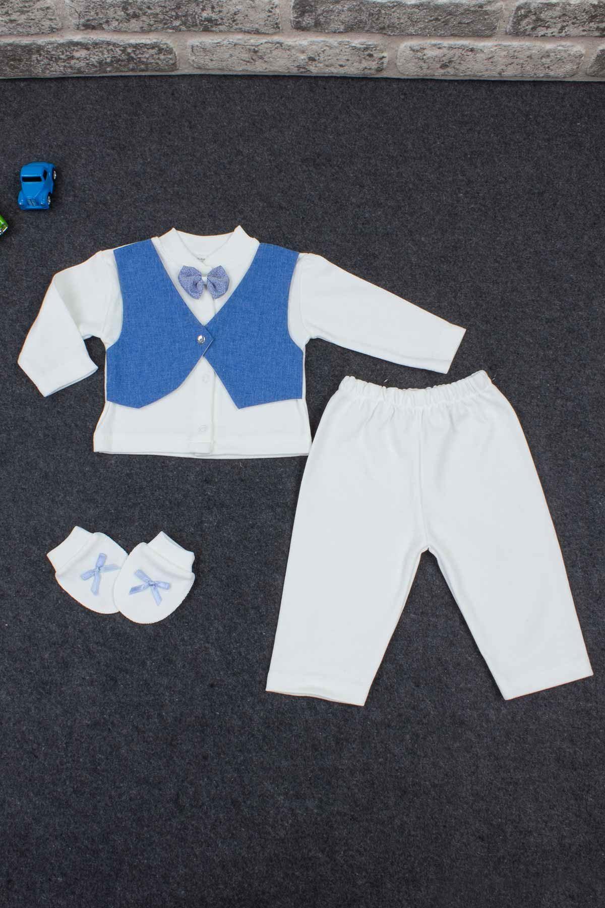 Mavi Erkek Bebek Smokin Takım