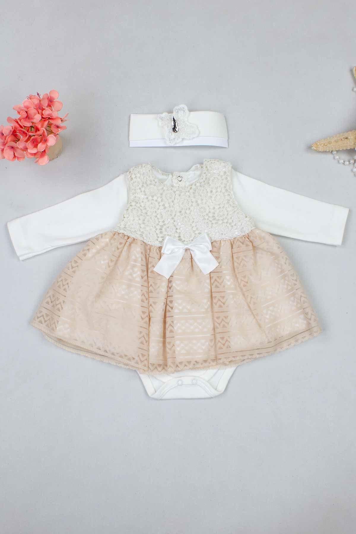 Krem Kız Bebek Elbise Mevlüt Takım